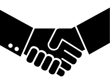 concur: Men in suit shaking hands in agreement.