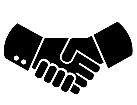 Men shaking hands with round cuffs  wrists.  Illustration