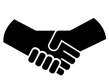 shaking: Two people shaking hands together in trust. Illustration