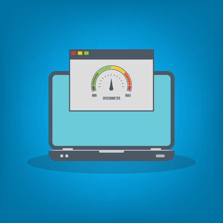 Speed test on laptop. Speedometer Internet Speed . Website speed loading time. EPS10 Vector illustration. All elements are in separate layer.