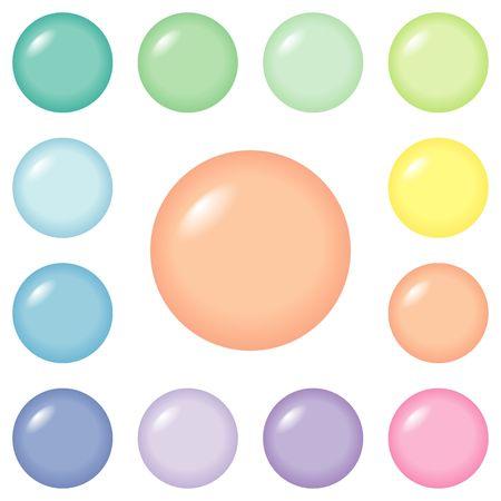 Ronda botones de diseño web y presentaciones, en 12 colores pastel.  Foto de archivo - 407332