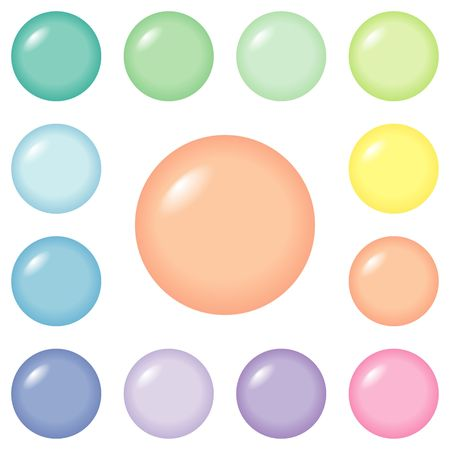 Round buttons for web design and presentations, in 12 pastel colors. Stock Photo