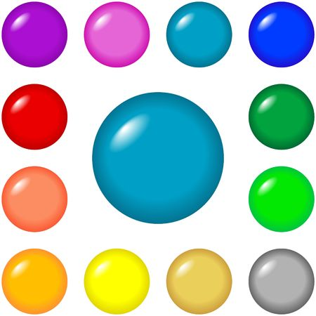 Round buttons for web design and presentations in 12 bright colors.
