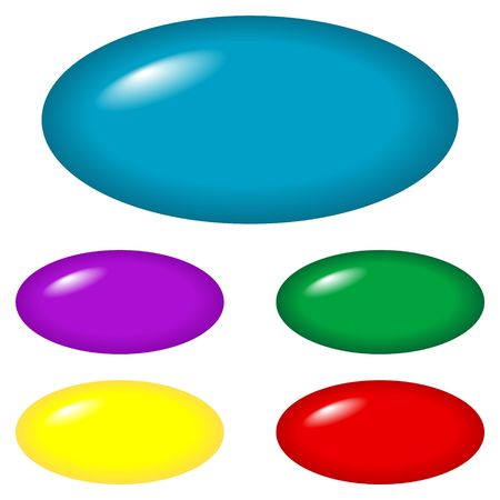 Oval buttons for web design and presentations.  Colors: blue, green, red, yellow and purple.