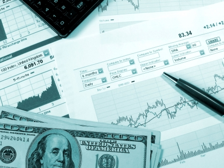 Stock market charts for investor analysis. Stock Photo