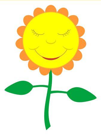 A cartoon-like smiling flower.