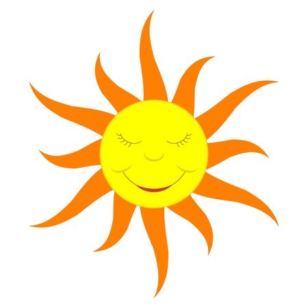 A cartoon-like smiling sun, solid color flame version.