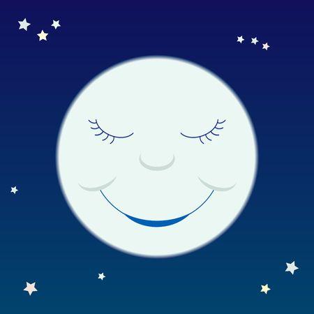 A cartoon-like smiling moon on a starry sky. Stock Photo