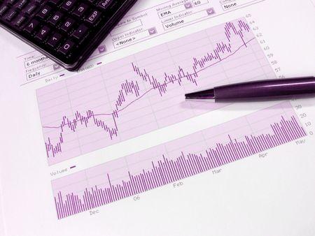 Borsa grafico per l'analisi degli investitori, con copia spazio.