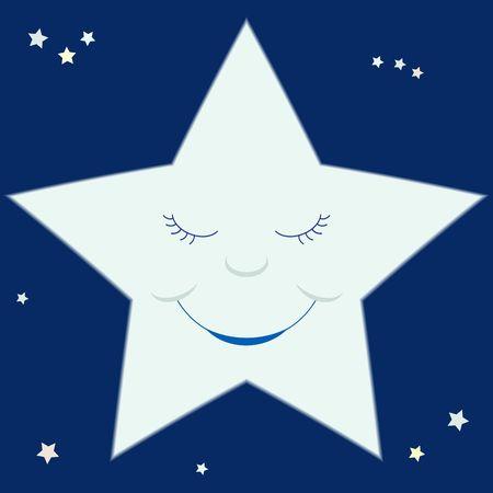 A cartoon-like smiling star on a starry sky. Stock Photo