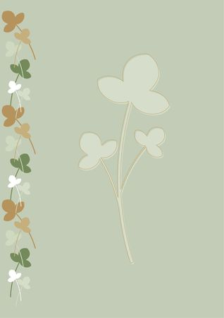 Background for stationery with green, beige and brown flowers and leaves, suitable for letterheads and cards (A4 size). Stock Photo