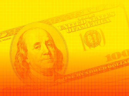 Artistic background of a US$100 bill with a crosshatched pattern, in yellow-orange hues. Image proportions suitable for presentations and other screen applications. Stock Photo