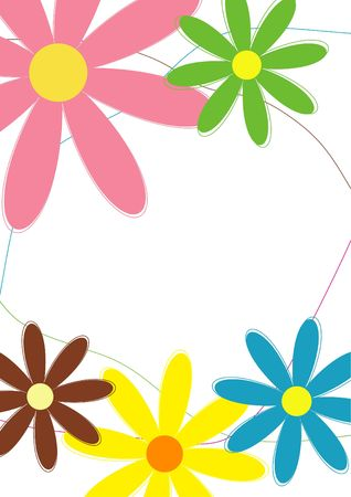 Background with colorful flowers, suitable for letterheads, cards and flyers (A4 size)