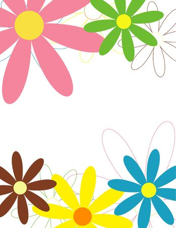 Background with colorful flowers, suitable for letterheads, cards and flyers (letter size)