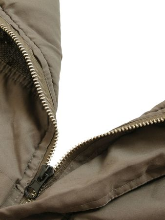 A parka with its zipper opened to a white background.  Any chosen scenery can be easily added to the background. Stock Photo