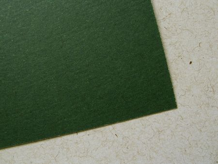 Close-up view of a recycled paper card and sheet, showing texture and fibers, with copy space. Stock Photo
