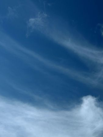 Cirrus and cirrostratus clouds on a winter sky