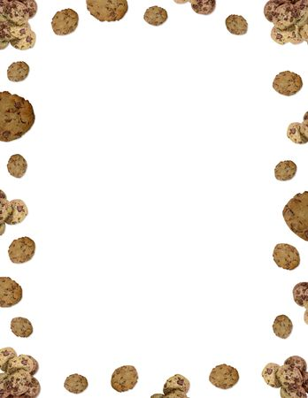 Chocolate chip cookie border on white background Stock Photo