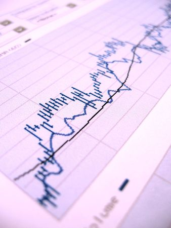 Stock market chart for investor analysis. Very shallow DOF, focused in the center. Stock Photo