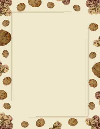 Chocolate chip cookie border on beige background Stock Photo