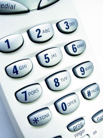 cordless phone: Close up view of a cordless phone, showing numerical keypad. Stock Photo