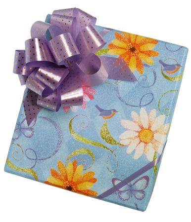 Top view of a colorful gift box, with bow, isolated on white