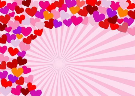 Hearts in many sizes and hues in a spiral arrangement.  A Valentine's Day stationery design. Stock Photo - 742983