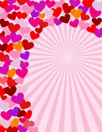 Cuori in molti formati e colori in una spirale accordo. Un San Valentino cancelleria design.