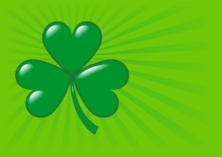paddys: An illustration of a shamrock, symbol of Ireland and of St. Patricks Day, on a green background with copy-space and dimensions ready for a greeting card. Stock Photo