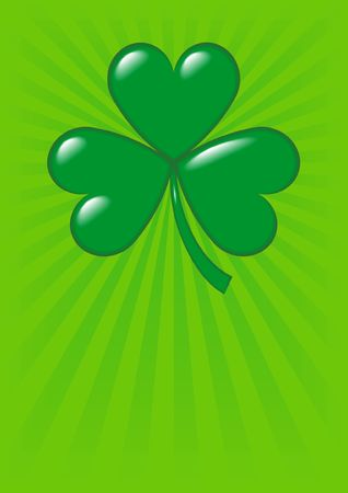 An illustration of a shamrock, symbol of Ireland and of St. Patricks Day, on a green background with copy-space and dimensions ready for a greeting card. Stock Photo