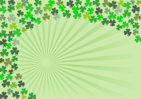 Shamrock clovers in many sizes and hues in a spiral arrangement.  A St. Patrick's Day stationery design, with copy-space and dimensions ready for a greeting card. Stock Photo - 776720