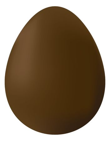 A simple illustration of a chocolate Easter egg on white background. Stock Photo