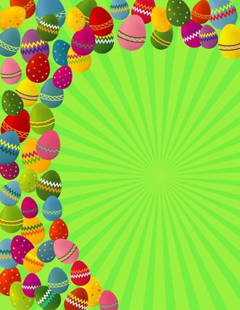eastertide: A colorful illustration of Easter eggs on a green background, with dimensions suitable for a greeting card. Stock Photo