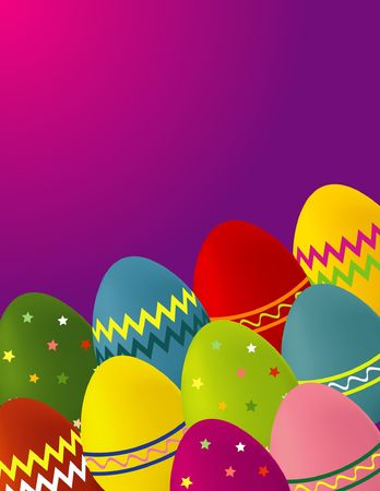 A colorful illustration of Easter eggs on a pink and purple background, with dimensions suitable for a greeting card. Stock Photo