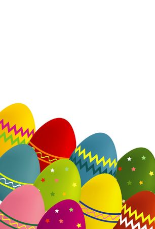 A colorful illustration of Easter eggs on a white background, with with copy-space and dimensions suitable for a greeting card. illustration