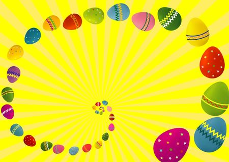 A colorful illustration of a spiral of Easter eggs on a yellow background, with copy-space and dimensions suitable for a greeting card. illustration