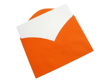 A bright orange envelope with blank card inserted, isolated on white with natural shadows.