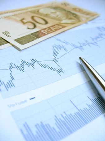 Borsa grafici per l'analisi degli investitori, con Real brasiliano $ 50 bollette e penna, usando selective concentrarsi sul grafico e penna.  Archivio Fotografico
