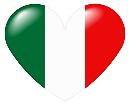 Illustration of a heart shape with the colors of the Italian flag, with a 3D look and reflection highlights, isolated on white background. Stock Photo