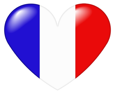 Illustration of a heart shape with the colors of the French flag, with a 3D look and reflection highlights, isolated on white background. Stock Photo