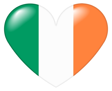 Illustration of a heart shape with the colors of the Irish flag, with a 3D look and reflection highlights, isolated on white background. illustration