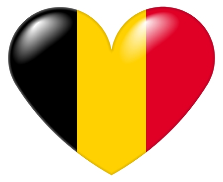 Illustration of a heart shape with the colors of the Belgian flag, with a 3D look and reflection highlights, isolated on white background.
