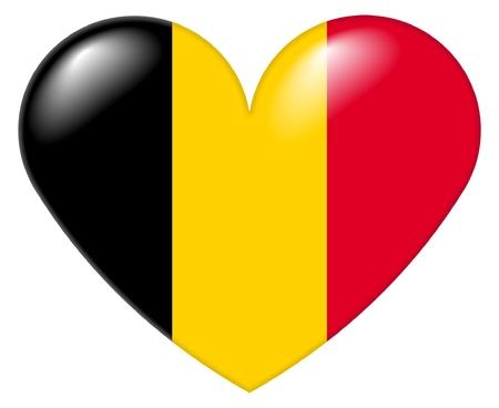 Illustrazione di un cuore forma con i colori della bandiera belga, con un look 3D e di riflessione mette in evidenza, isolati su sfondo bianco.  Archivio Fotografico
