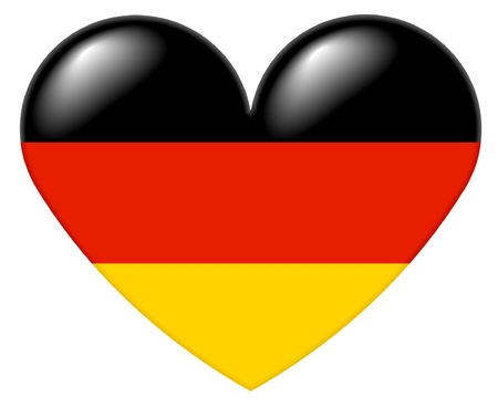 Illustration of a heart shape with the colors of the German flag, with a 3D look and reflection highlights, isolated on white background.