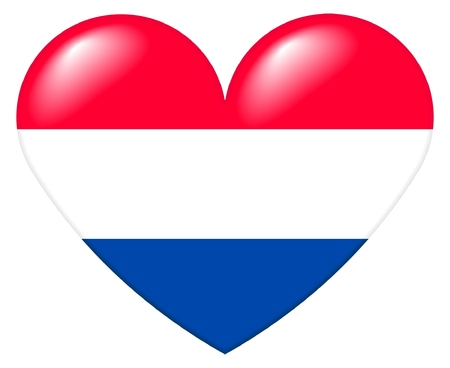 Illustration of a heart shape with the colors of the Dutch flag, with a 3D look and reflection highlights, isolated on white background.