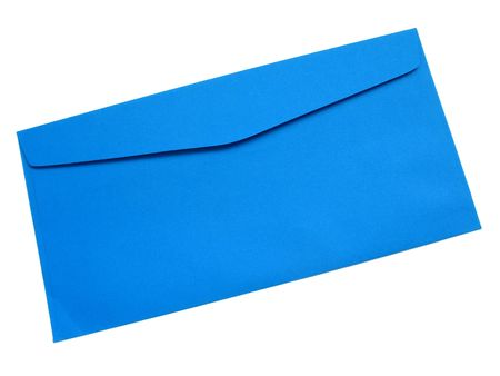 A bright blue textured paper envelope, closed and viewed from the backside, isolated on white with natural shadows.