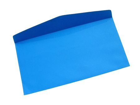 A bright blue textured paper envelope, open and viewed from the backside, isolated on white with natural shadows.