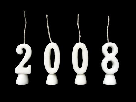 New Year 2008: candles showing year 2008 on black background. Stock Photo - 2103184