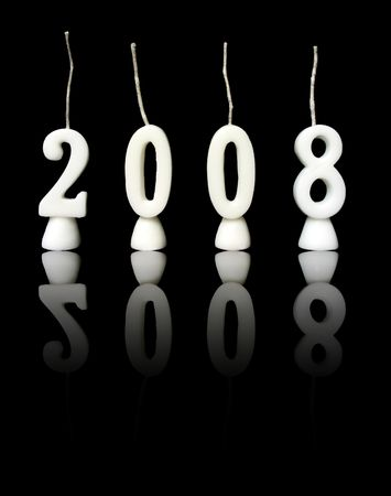 New Year 2008: candles showing year 2008 on black background, with reflections.