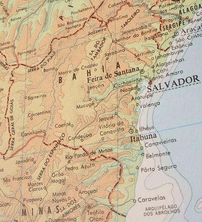 Mappa di soccorso dello Stato di Bahia, Brasile.